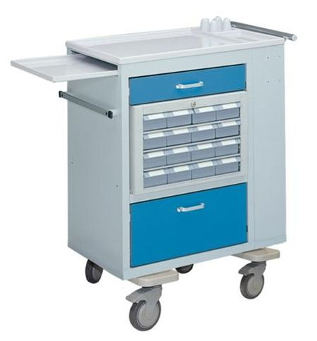Dual-Sized Medication Cart w/ 2 Removeable Cassets and Bins