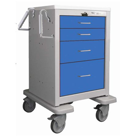 Waterloo 4-Drawer Breakaway Key Lock Slim Med Jr Emergency Cart